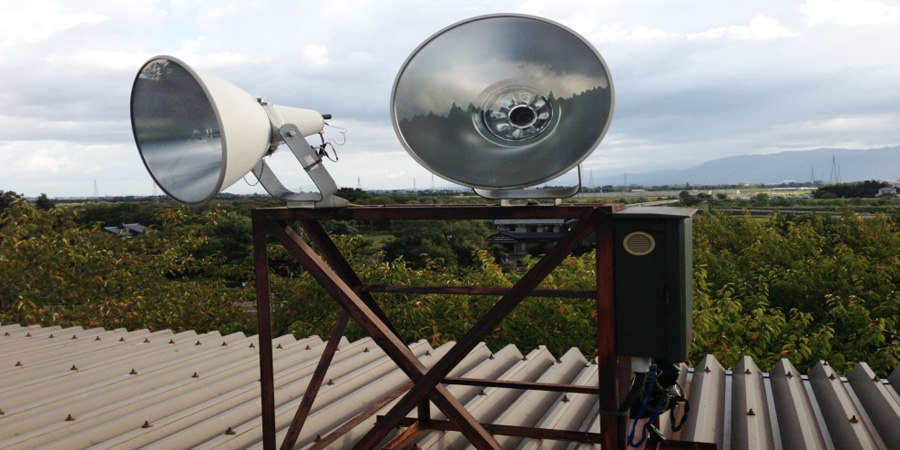新潟市:不動産業 水銀灯からLED照明に交換工事前の様子