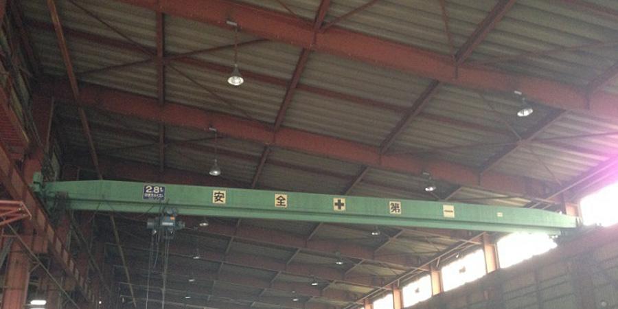 新発田市:鉄工業 水銀灯からLED照明に交換工事前の様子